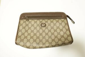 Authentic Vintage Gucci Canvas PVC Clutch bag Pouch #8886