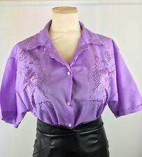 "Purple Vintage Blouse Size 16/18 46"" Chest Secretary Sissy Mistress CD TV D281"