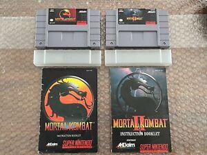 Mortal Kombat & Mortal Kombat II 2 (Super Nintendo) SNES Authentic,w/ Manuals VG