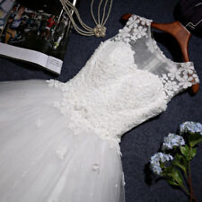 New Lace Tulle Wedding Dress Ivory White Bridal Ball Gown Dress Custom Size 6-18
