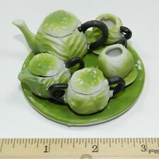 Miniature Ceramic Green Leaf Tea Set - 11 Pieces