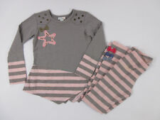 Naartjie Kids Size 7 Outfit Shirt & Leggings Long Sleeve Shirt Gray Pink Stripes