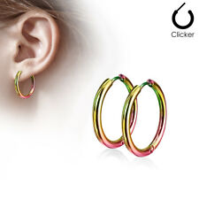 Pair 316L Surgical Steel Hinge Action Seamless Hoop Earrings / Rainbow Anodised