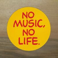 2x No Music No Life Aufkleber Sticker Keine Musik kein Leben Gitarre Gesang Gelb