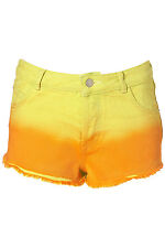 Topshop dip dye ombre yellow orange shorts BNWT size 8 summer festival beach