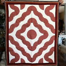 Quilt 33x40 Around the World Handmade Companion quilt with applique' and triple