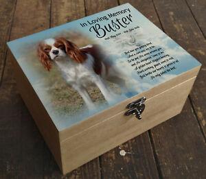 Wooden box casket urn cremation,memory keepsake, Cavalier king Charles dog