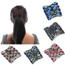 Women Girl Double Hair Comb Magic Beads Elasticity Clip Stretchy Hair Combs Clip