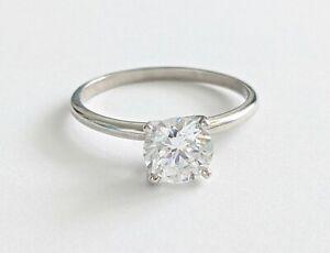1 ct Platinum Solitaire 6.50 mm Round CZ (Cubic Zirconia) Engagement Ring Size 7