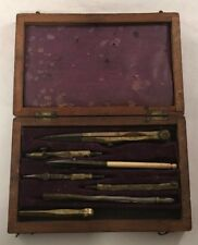 ANTIQUE 19TH CENTURY DRAFTING SET IN WOODEN CASE BOX