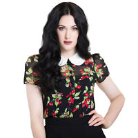 Hell Bunny Cherie Chiffon Cherry Vintage Rockabilly Pinup 1950s Retro Blouse Top