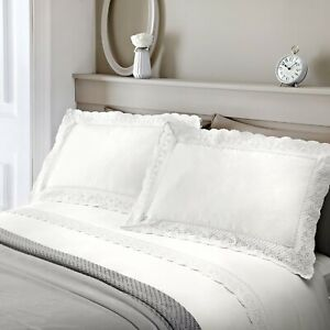 RENAISSANCE DOUBLE DUVET QUILT COVER LACE BRODERIE EMBROIDERED BEDDING SET WHITE