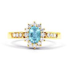 Aquamarine 9 Carat Oval Yellow Gold Fine Gemstone Rings