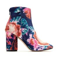 "Katy Perry THE MAYARI-Velvet Floral Print Navy Boots -  Many Sizes - 3"" Heel"