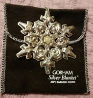 "1984 Gorham Sterling Silver Annual Christmas Snowflake Ornament 3.5"" w/pouch"
