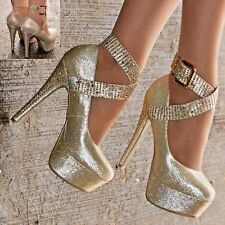 Ladies Women High Heel Pumps Concealed Platform Party Evening Sparkly Shoes size