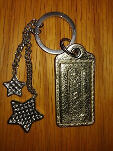 """COACH Smooth gold Leather 2.5"""" Replacement Tag Keychain with stars"""