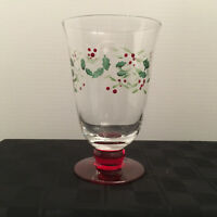 Pfaltzgraff Winterberry Handpainted Footed Water Glass, 14oz capacity