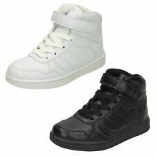 Boys Spot on Black synthetic riptape  fastening School shoe    N1034