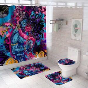 Lover Shower Curtain Bathroom Rug Set Thick Bath Mat Non-Slip Toilet Lid Cover