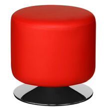 Premier Red Cylinder Revolving Stool Leather Effect Home Padded Seat Chair