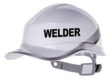 2x Soldador Sombrero duro Etiqueta del vinilo. Adhesivo De Transferencia Custom Color y fuente