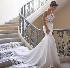 Sexy Mermaid Wedding Dress Spaghetti Straps Long Satin Court Train Bridal Gown