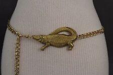 Women Gold Metal Chains Fashion Belt Hip Waist Crocodile Alligator Plus M L XL