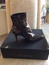 "Authentic "" VIA SPIGA "" Ladies Genuine Patten Leather Leopard Boots (7M)"