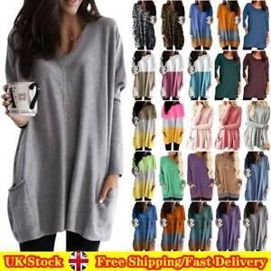 Women Long Sleeve Tunic Top Casual T-Shirt Blouse Pocket Longtops Plus Size UK!