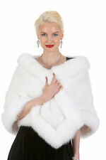 Womens Real Mink Fur Stole Cape Wrap White Fox Trim - The Lana