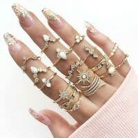 17pcs Damen Böhmen stapelbare Ringe Anzug schnitzen Krone Kristall Schmuck Ring