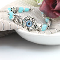 Silver Toned Vintage Bracelet With Evil Eye Amulet Charm and Blue Stone