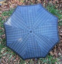 """Vintage Blue Tartan Plaid Fabric 28"""" Umbrella"""
