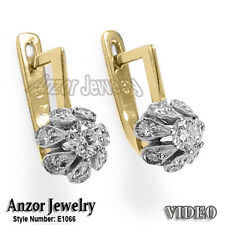 RUSSIAN JEWELRY 14K YELLOW & WHITE GOLD .95 CWT DIAMOND MALINKA EARRINGS #E1066