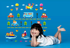 Vehicles Car Boat Plane Art Wall Stickers Removable Kids Nursery Room Decal Home