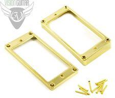 NEW! Metal Humbucker Rings - Curved US Spec Les Paul - Bridge & Neck - Gold
