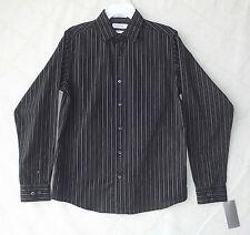 Calvin Klein Black/Grey Boys Slim Fit Striped Button Shirt 16 Reg NWT B5246