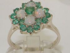 Solid 925 Sterling Silver Natural Emerald & Opal Ring with English Hallmarks