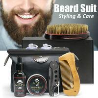 7Pcs/Kit Entretien Soin de Barbe pour Homme Huile Brosse Peigne Baume Ciseaux