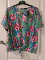 M&Co Women's Short Sleeve Green Floral Top - Size UK 18 (New with tags)