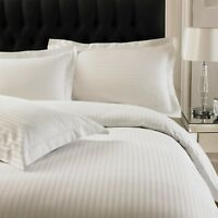 Hotel Quality 100% Egyptian Cotton Sateen Stripe Duvet Cover Quilt Bedding Set