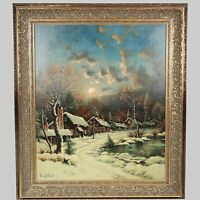 American George W. Drew 1875-1968 Moonlight Vintage to Antique oil/canv painting