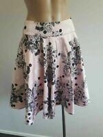 EUC size 10 REVIEW fit and flare skirt. PINK white black polka dot floral