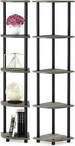 5 Tier Corner Shelf Tall End Display Storage Bookcase Rack Room Home Office