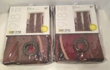 """No. 918 Intersect Wave Print Casual Textured Curtain Panel, 48""""x 84"""" Paprika New"""