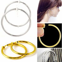 #E121F Pair CLIP ON Thick Tube Hoop EARRINGS look like pierced Spring Closure
