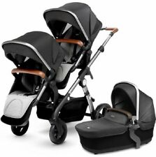 Silver Cross Wave Twin Baby Double Pram System Stroller w/ Bassinet Granite New