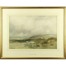 Arthur Basset Waller Dartmoor Shepherd Sheep Impressionist Painting