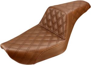 Saddlemen Brown Step Up Leather Lattice Seat for 96-03 Harley FXD Super Glide